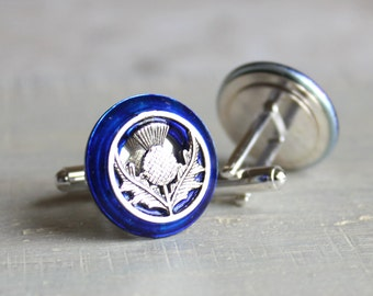 royal blue Scottish thistle cufflinks, Scottish cufflink, wedding jewelry, best man, mens jewelry, fiance gift, groom cufflinks, unique gift