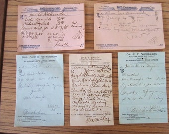 Vintage 1914 Antique Lot Doctor's Medicine Prescriptions Pharmacy Man Druggist Pharmacist Cave Brenham TX Texas