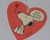 Vintage Snoopy Gift Tag ~ Unused Hallmark ~ Happy Birthday Sweetie! ~ Large Heart