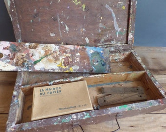 vintage French wooden painting box suitcase  Drawing Art
