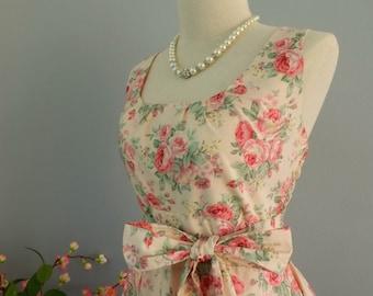 Peach floral dress floral summer sundress vintage style dress