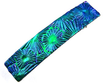 """Dichroic Hair Barrette - Small 2.5"""" / 65mm - Emerald Green Fused Glass Floral Seashell Florentine Patterned with Sapphire Blue Accents"""