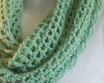 Soft green cotton cowl