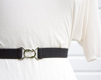 Skinny black elastic waist belt with interlocking clasp