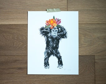 Chimpanzee print - chimp artwork - flowers - chips painting - baby girl room