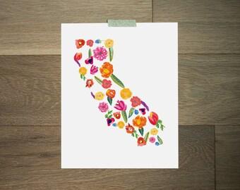 California art print - 8 x 10 - california art- cali love - california flowers - poppy