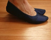 US 8 / Euro 38 / UK 6.5, Navy Blue Silk Slippers, #585