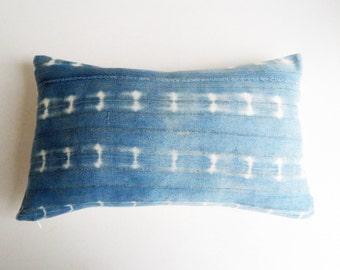 Light Indigo Mudcloth Pillow Cover with Metallic Threads - Modern Bohemian Decor - Shibori Boho Lumbar Pillow