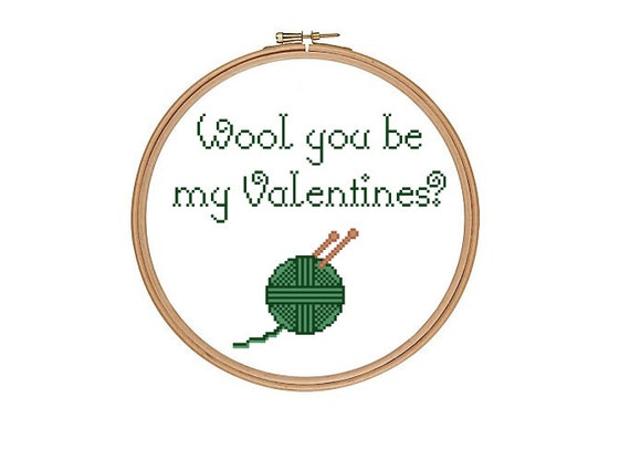 Funny Valentines Cross Stitch Pattern. Wool You be my Valentine Pun