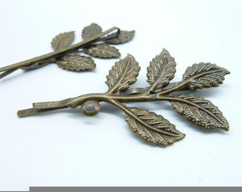10pcs 33x67mm Antique Bronze Brass Branch Leave Leaf Bobby Hair Pin c8216