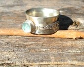 Aquamarine Chalcedony and Sterling Silver spinner ring, faceted gemstone and sterling spinner ring, statement ring, bohemian spinner ring,