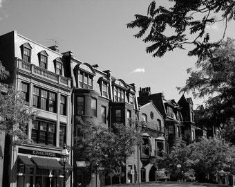 Boston Photography, Black and White Photo, Beacon Hill Boston Wall Decor, Row Homes Art, Urban Photography