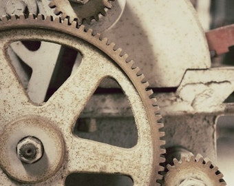 Old Gears Photograph, Macro Machinery Photo, Antique Gears Art