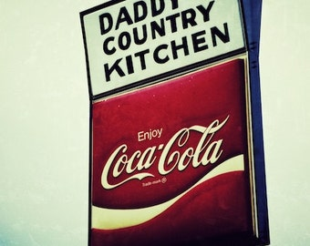 Daddy's Country Kitchen Wall Decor, Vintage Art for Kitchen, Vintage Coca-Cola Sign