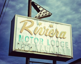 Motel Sign Photo, Riviera Motel Sign, Retro Motel Neon Sign Art