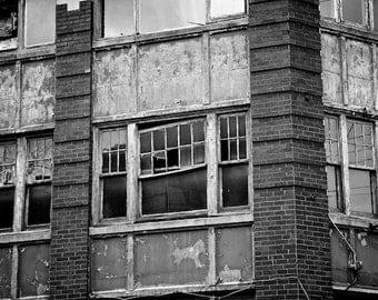 Urban Grunge Art Black and White Photo Industrial Decay, Urban Photo, Industrial Wall Decor