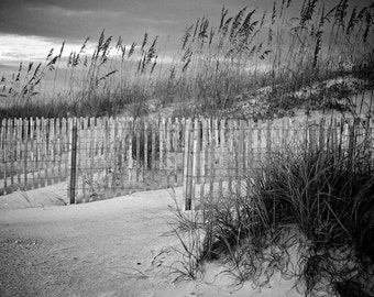 Black and White Photo, Sand Dunes, Ocean Art, Stormy Weather, Beach Decor, St. Augustine Photography