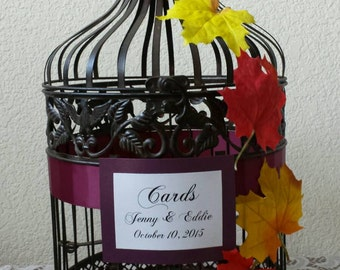 Fall Cascading Leaves-Bronze Round Birdcage -Wedding card holder