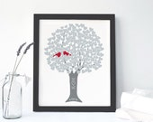 FRAMED: 25 Year Anniversary Gift Personalized Silver Wedding Art Print on Canvas