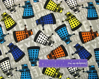 DOCTOR WHO Dalek Exterminate Paradigm Robot BBC Cotton Fabric By The Half Yard