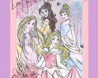 Disney Girl PRINCESS Cinderella Aurora Belle Rapunzel Cotton Fabric By The Panel