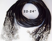 "LONGER - 25 Black Cord Necklaces 22-24"" inch 2mm"