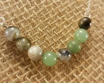 Green and Grey semiprecious gemstone beaded silver necklace