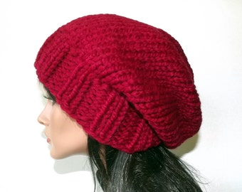 Slouch Hat Womens Hat Hand Knit Slouch Beanie Knit Mens Womens Hat- Cranberry Cardinal Red