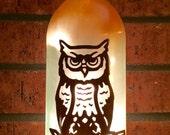Large Frosted Decorative Owl Wine Bottle Light, Night Light, Bottle Lamp, Great Gift for Owl Lovers