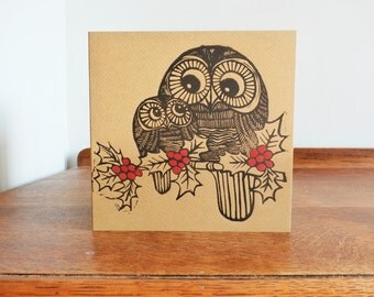 Owls in Holy, Original Hand Printed Card, Linocut Card, Blank Greeting Card, Brown Kraft Card, Free Postage in UK,