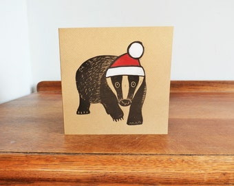 Christmas, Badger, Woodland Animal, Original Hand Printed Card, Linocut Card, Blank Greeting Card, Brown Kraft Card, Free Postage in UK,