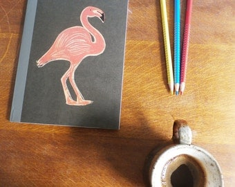 Flamingo Notebook, MUJI, A5 Recycled Notebook, Lined, Hand Printed Linocut, Printmaking, Black, lined notebook, notebook gift,
