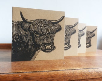 Linocut Cards Set of 4, Highland Cow, Original Hand Printed Cards, Blank Greeting Cards, Brown Kraft Cards, Free Postage in UK,