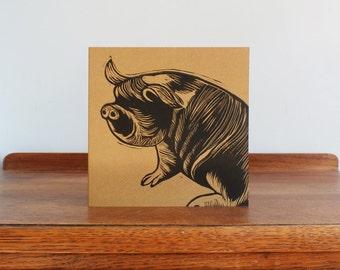 Kune Kune Pig, Woodland Animal, Original Hand Printed Card, Linocut Card, Blank Greeting Card, Brown Kraft Card, Free Postage in UK,