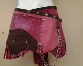 """20%OFF bohemian tribal bellydance fringed suede belt with stud detail.chain,2 pockets ...38"""" to 44''"""