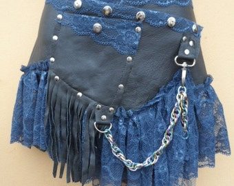 """20%OFF BURNING MAN grey leather skirt/belt with ruffles and studs... 38'' to 44'"""" hip or waist..."""