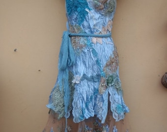 "20%OFF boho wedding dress formal brides maid bohemian lagenlook gypsy vintage...medium to 40"" bust.."