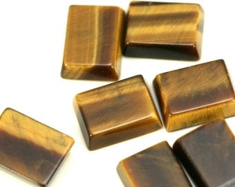5 pcs 6x8 mm Tiger's Eye rectangle coin cabochon thickness 2.5 mm inclined edge
