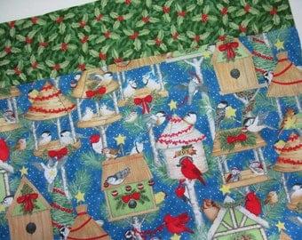 Christmas Standard Size Pillowcase, Winter Holiday Birds Cardinal Blue Jay Chickadee on Birdhouses Kids Fabric Pillowcase Gift under 10