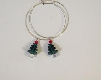 Earrings - Pierced - Crystal- Green Red n Clear  Swarovski - Silvertone Wires - Trees - Hoop Wires