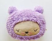 Plush Kawaii Teddy Bear Pillow in Lavender Faux Fur