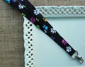 Fabric Lanyard - Bright Paw Prints on Black