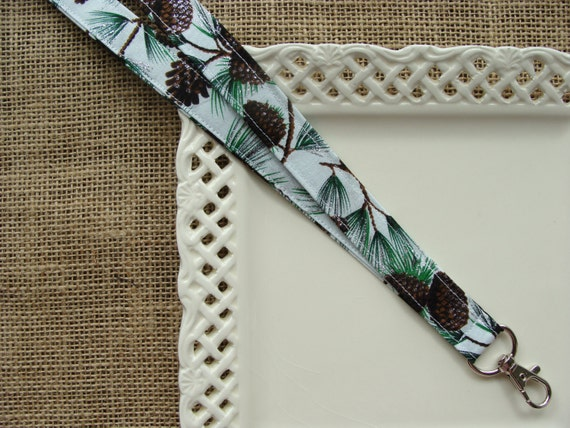 Fabric Lanyard - Winter Pinecones on Cedar Branches