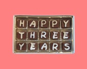3rd Third Anniversary Gift Men Girlfriend Boyfriend Husband Wife Wedding Anniversary Romantic Happy 3 Years Three Cubic Chocolate Letter