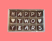 Second 2nd Anniversary Gift for BF Boyfriend Girlfriend Husband Wife Happy 2 Years Two Cubic Chocolate Letters AK International Shipping