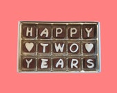 2nd Second Anniversary Gift Men Him Her Second Year Boyfriend Girlfriend Gift Husband Wife Gift Happy Two 2 Years Cubic Chocolate Letters
