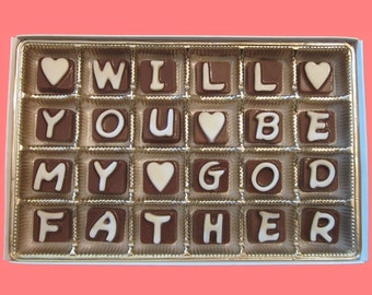 Will You Be My Godfather Gift for Godparents Unique Cool Way to Ask Gift for Men Him Cubic Chocolate Letters AK APO International Shipping