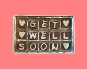 Get Well Soon Cubic Chocolate Letters Sympathy Speedy Recovery Greeting Gift Man Woman Kids Boy Girl Teens Gift BFF Luxury Unique Idea Cute