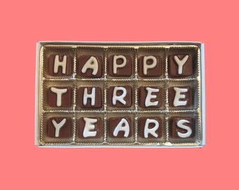 3rd Third Anniversary Gift Men Girlfriend Boyfriend Husband Wife Wedding Anniversary Romantic Happy 3 Years Three Cubic Chocolate Letter