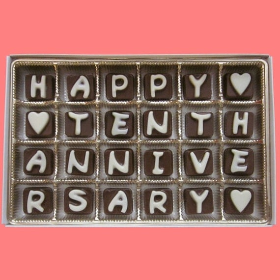 10th Anniversary Gift for Men Husband Gift from Wife 10 Couple Gift Men Ten Years Happy Tenth Wedding Anniversary Cubic Chocolate Letter